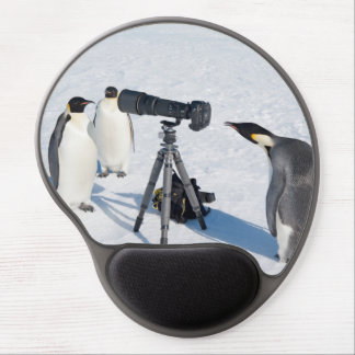 Emperor Penguins with Camera - mouse pad