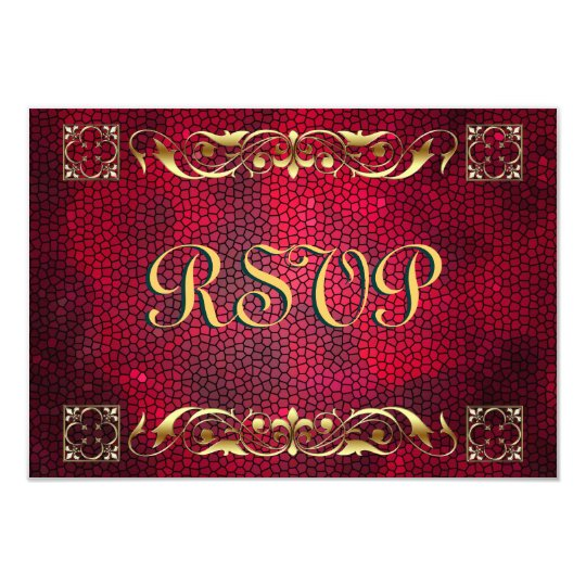 Emperor Red Stained Glass RSVP Card