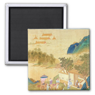 Emperor Wu Ti  welcoming a man of letters Magnets