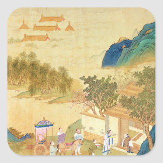 Emperor Wu Ti  welcoming a man of letters Square Sticker