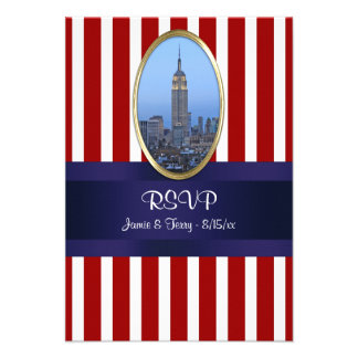 Empire State Building 02 Red White Str 111 RSVP 1 Personalized Announcements