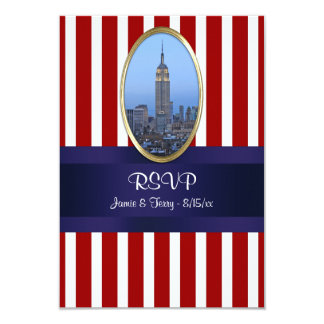 Empire State Building 02 Red White Str 111 RSVP 1 9 Cm X 13 Cm Invitation Card