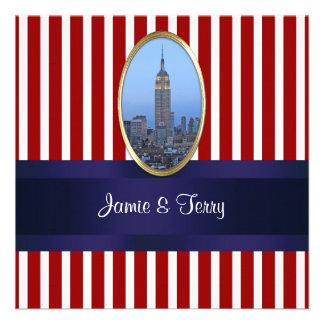 Empire State Building 02 Red White Stripe Wedding Invites