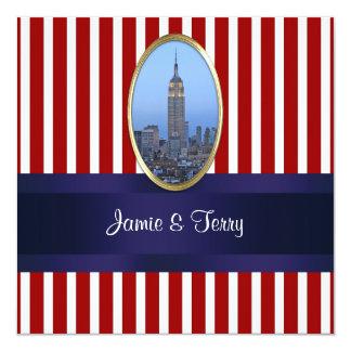 Empire State Building 02 Red White Stripe Wedding 5.25x5.25 Square Paper Invitation Card