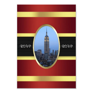 Empire State Building 03 Burgundy Gold RSVP 9 Cm X 13 Cm Invitation Card