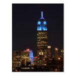 Empire State Building 30 Rock in blue for Autism 2 Post Cards