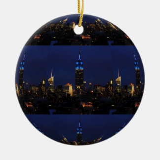 Empire State Building all in Blue, NYC Skyline 04 Christmas Ornament