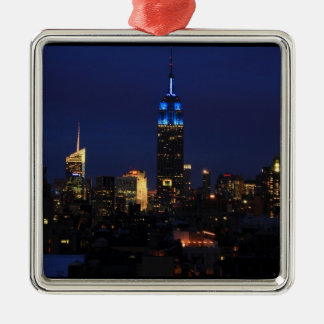 Empire State Building all in Blue, NYC Skyline Christmas Ornament