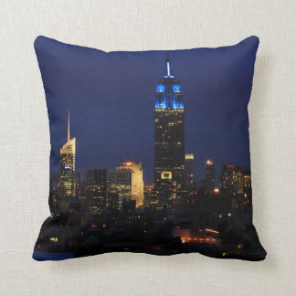 Empire State Building all in Blue, NYC Skyline Cushion