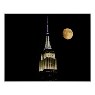 Empire State Building and Moon Poster