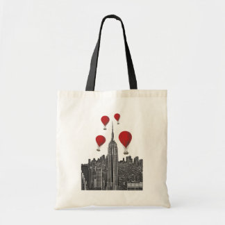 Empire State Building and Red Hot Air Balloons Tote Bag