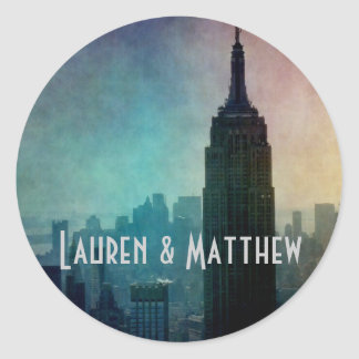 Empire State Building at colorful dusk Round Stickers