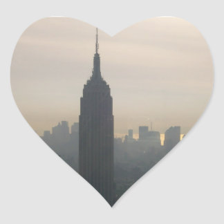 Empire State Building at dusk Heart Sticker