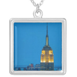 Empire State Building at Sunset Silver Plated Necklace