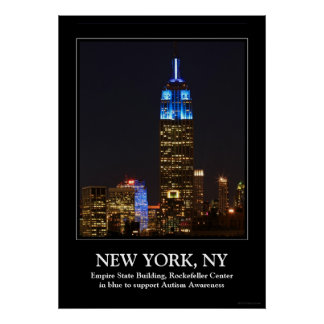 Empire State Building Blue for Autism 2012 Poster