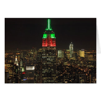 Empire State Building Christmas Colors at night 01 Greeting Card