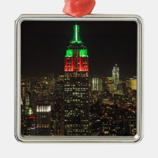 Empire State Building Christmas Colors at night 01 Silver-Colored Square Decoration