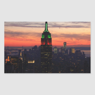Empire State Building - Christmas Colors Sunset 01 Rectangular Sticker