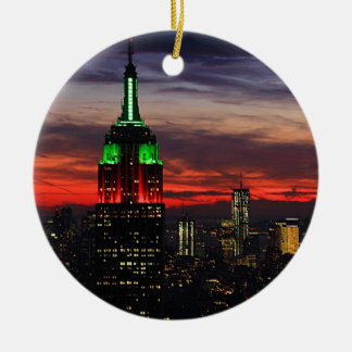 Empire State Building - Christmas Colors Sunset 02 Christmas Ornament