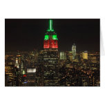 Empire State Building Christmas Colours at night Greeting Card