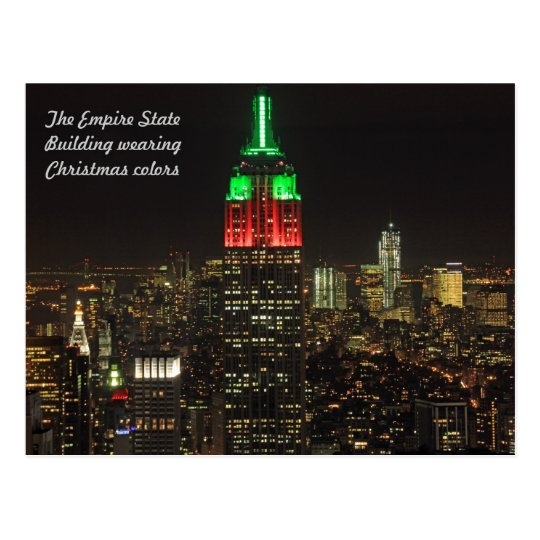 Empire State Building Christmas Colours at night Postcard