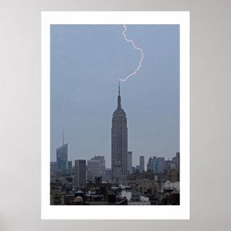 Empire State Building Daytime Lightning Strike 001 Poster