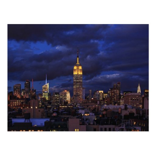 Empire State Building in Yellow, Twilight Sky 02 Post Card