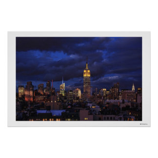 Empire State Building in Yellow, Twilight Sky 02 Poster