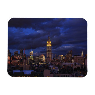 Empire State Building in Yellow, Twilight Sky 02 Rectangular Photo Magnet