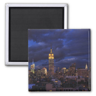 Empire State Building in Yellow, Twilight Sky 02 Square Magnet