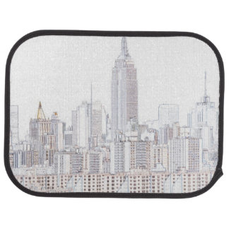 Empire State Building line drawing Car Mat