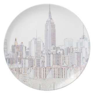 Empire State Building line drawing Plate