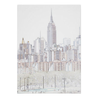 Empire State Building line drawing Poster