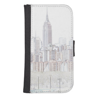 Empire State Building line drawing Samsung S4 Wallet Case