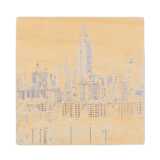 Empire State Building line drawing Wood Coaster