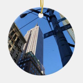 Empire State Building Manhattan Round Ceramic Decoration