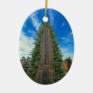 Empire State Building Morphed to Xmas Tree Ceramic Oval Decoration