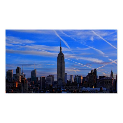 Empire State Building, NYC Skyline and Jet Trails Business Card Template