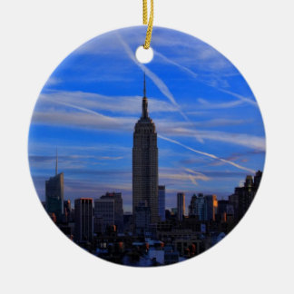 Empire State Building, NYC Skyline and Jet Trails Christmas Ornament