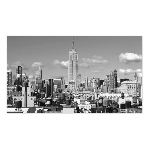 Empire State Building NYC Skyline Puffy Clouds BW Business Cards