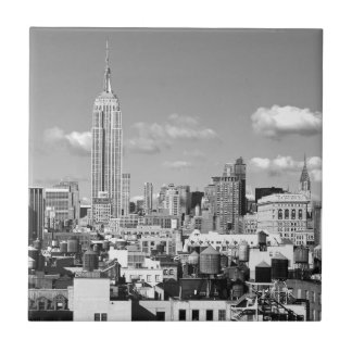 Empire State Building NYC Skyline Puffy Clouds BW Tile