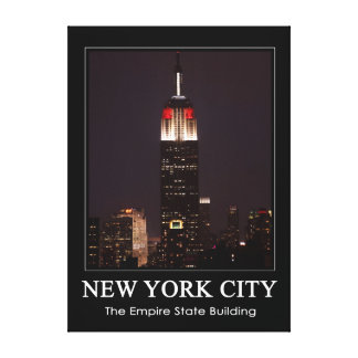 Empire State Building Red White 30 Rock 1C Canvas Print