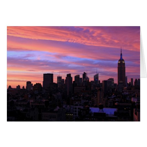 Empire State Building Red White Blue, Pink Sky Greeting Cards