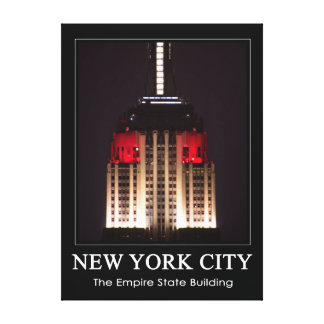 Empire State Building Red White Close up 1C Canvas Print