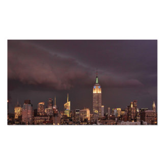 Empire State Building shark-like cloud approaches Business Card
