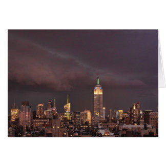 Empire State Building, shark-like cloud approaches Greeting Card