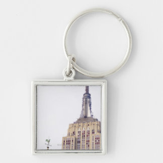 Empire State Building Silver-Colored Square Key Ring
