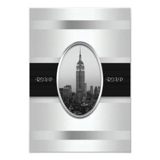 Empire State Building Wedding Invite White Silver