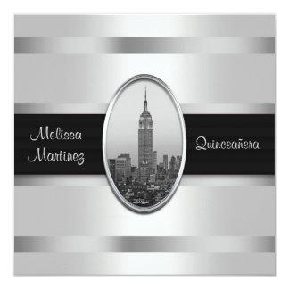 Empire State Building White Silver Quinceanera 13 Cm X 13 Cm Square Invitation Card