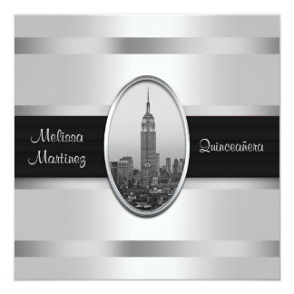 Empire State Building White Silver Quinceanera Card